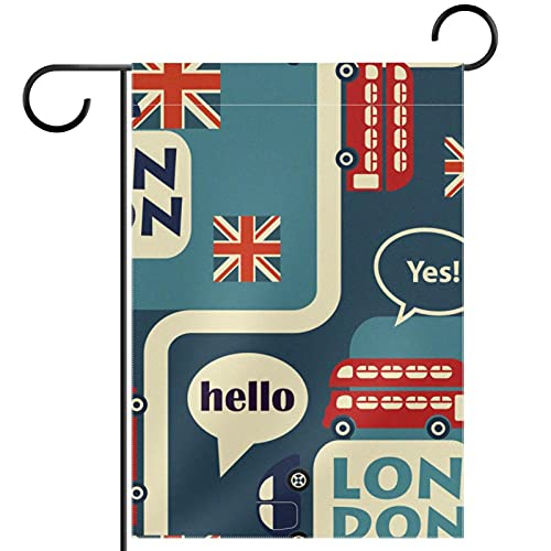 LynnsGraceland Yard Decor Outdoor Sign Garden Flags Hanging Ornament,double decker bus,for Terrace Potted Deck