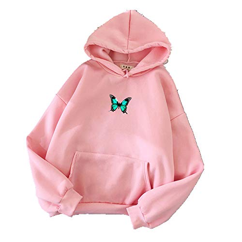 Winter Oversized Hoodies Frauen Sweatshirts Harajuku Schmetterling Print Kapuzenpullover Ästhetische Hoodie Damen Hoodie Streetwear Gr. 48, rose