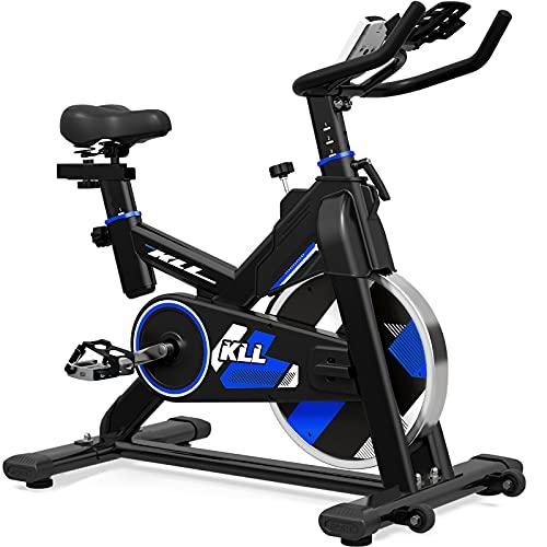 LABODI Bicicleta estática de ciclismo para interior con correa para el gimnasio, cardiovascular, con volante sólido actualizado de 35 libras, pantalla LCD y cómodo cojín de asiento