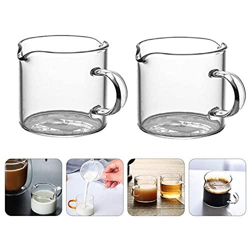 XHZY Tazas Medidoras De Doble Boquilla con Asa, Taza De Vidrio para Chupito Espresso, Jarra Medidora Transparente Barista, Taza De Leche Resistente Al Calor # 1