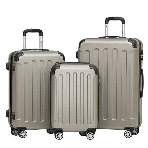 BEIBYE 2045 Zwillingsrollen 3tlg. Reisekoffer Koffer Kofferset Trolleys Hartschale in 14 Farbe(Champagner)