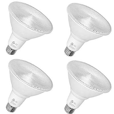 Hykolity Outdoor Led Flood Light, Waterproof PAR38 LED Bulb, Dimmable, 15W=120W, 5000K Daylight, 1600lm, E26 Base, UL Listed (4 Pack)