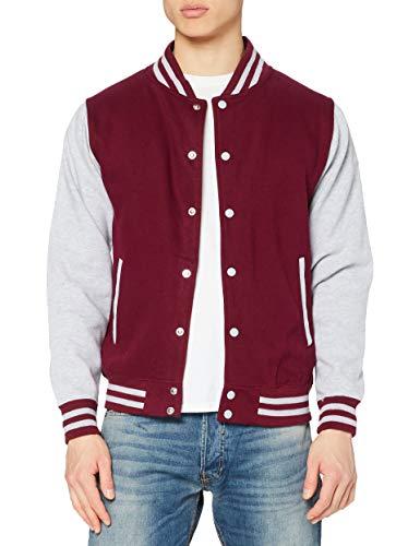 AWDis Varsity Jacket, Chaqueta Bomber para Hombre, Multicolor (Burgundy/Heather), M