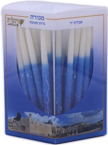 Menora Chanukka Kerzen blau-weiß, handgemacht 45Stk.