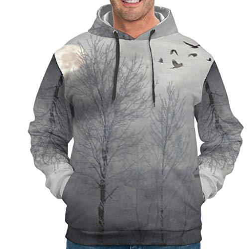 Dogedou Mens Fashion Hooded Sweat Sweatshirt Winter Baum Longsleeve Langarm Kapuzenpullover Sweatjacke Für Jugenden drakblack 4XL