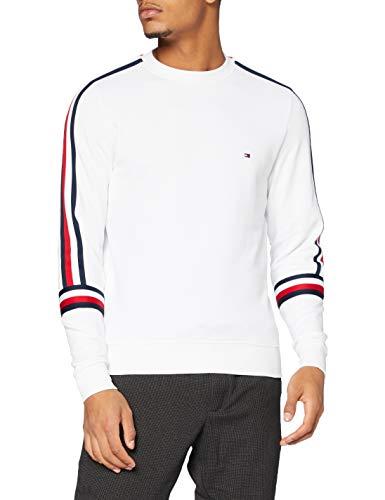 Tommy Hilfiger RWB Tape Sweatshirt Suéter, White, XS para Hombre