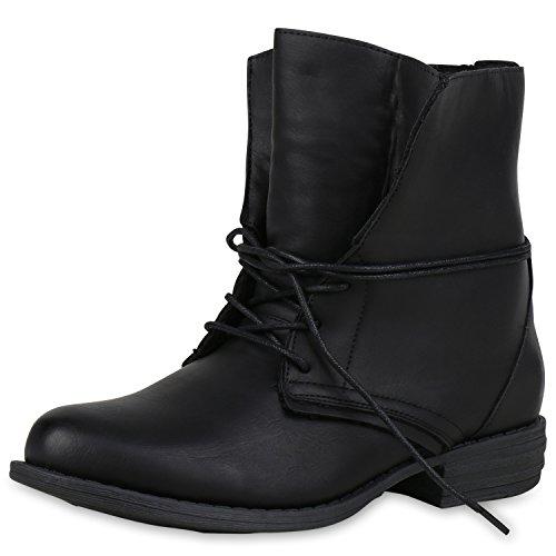 SCARPE VITA Damen Schnürstiefeletten Warm Gefütterte Stiefeletten Winter Boots 165342 Schwarz Schwarz Warm Gefüttert 41