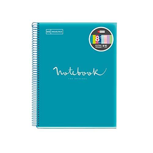 Miquelrius - Cuaderno Espiral Microperforado, Cubierta Polipropileno Translúcido, Tamaño A4 210 x 297 mm, 4 taladros, 160 Hojas de 90 g/m² y 8 Franjas de Color, Cuadrícula de 5 mm, Color Formentera
