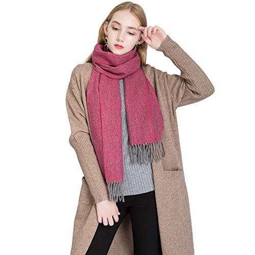 Mantón de Las Mujeres Versátil Otoño Invierno Calor Engrosamiento Estilo Europeo y Americano Moda Color sólido Bufanda Borla Elegante Collar (Color : D)
