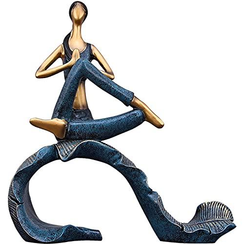 Figurines de Jardin, Figurines et Statues de Yoga, Sculpture de la Résine Girl Sculpture Ornement Moderne for la Maison Salon Chambre Décoration de Bureau, Bleu (Color : Blue)