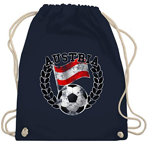 Shirtracer Fussball EM 2021 Fanartikel - Austria Flagge & Fußball Vintage - Unisize - Navy Blau - turnbeutel österreich - WM110 - Turnbeutel und Stoffbeutel aus Baumwolle