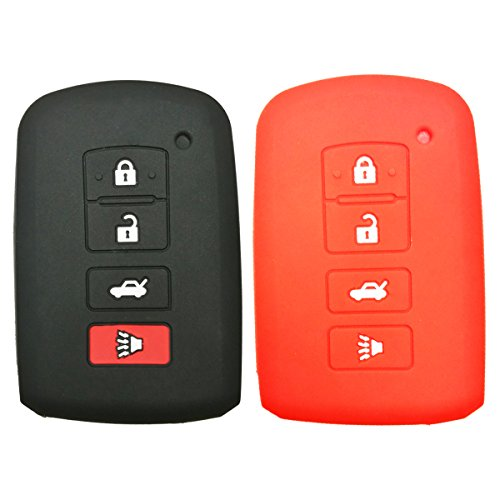 2Pcs Coolbestda Rubber 4buttons Key Fob Protector Keyless Entry Holder Cover Skin Jacket for 2016 2015 2014 Toyota Avalon Camry Corolla RAV4 Highlander Black Red