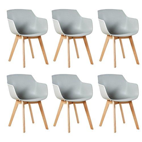 DORAFAIR Set di 6 Pranzo/Ufficio Sedia con Gambe in Faggio Massiccio, Poltrona Moderno Design Sedie Cucina Scandinavo - Grigio