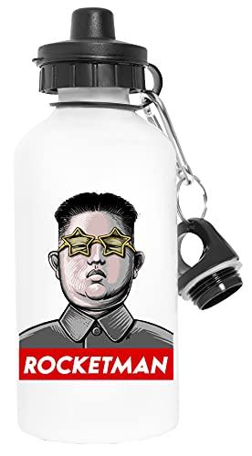 President Trump Kim Jong Un Rocket Man - Trump Deporte Viaje Blanco Botella De Agua Metal Prueba de Fugas Sport Travel White Water Bottle Leak-Proof