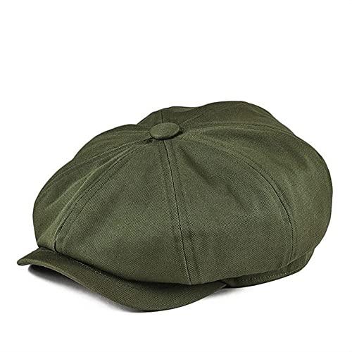 Gorra de Vendedor de periódicos, Gorra de Ocho Paneles de algodón de Sarga para Hombre, Gorras de Panadero para Mujer, Gorros Grandes Retro, Boina Verde para Hombre-1- Green-2-56-57cm
