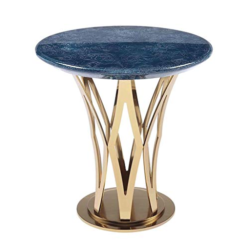 Tables basses Tables Table Ronde Salon en Métal Coin De Mode Petite Table Table Créative Table D'appoint Canapé Moderne Simple Table Bleue (Color : Blue, Size : 50 * 50 * 51cm)