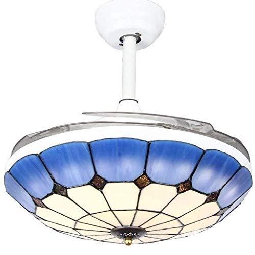 FFLJT Arana-Mediterraneo Invisible Light Ventilador creativo Ventilador de techo tradicional lampara de arana con control remoto telescopica lamina for el restaurante Hotel Moda Shell