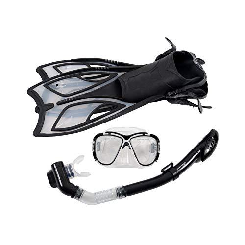 Gafas de Silicona para Adultos, Snorkel Totalmente seco, Snorkel de Aletas largas
