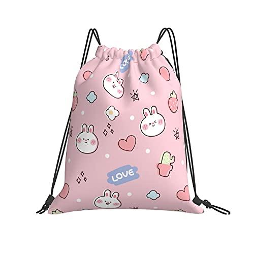 Bolsas sin costuras patrón de conejo lindo en fondo rosa mochila deporte gimnasio bolsa unisex niños de yoga al aire libre gimnasio natación viajes playa Sackpack un tamaño