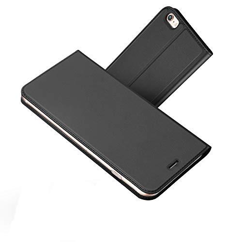 Radoo iPhone 6S Hülle,iPhone 6 Hülle, Premium PU Leder Handyhülle Brieftasche-Stil Magnetisch Klapphülle Etui Brieftasche Hülle Schutzhülle Tasche für Apple iPhone 6/6S 4.7 Zoll (Schwarz Grau)