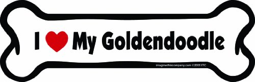 Imagine This Bone Car Magnet, I Love My Goldendoodle, 2-Inch by 7-Inch