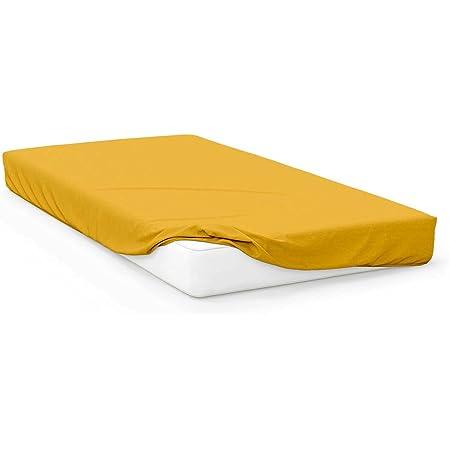Soleil d'Ocre 613204 Drap Housse pour Grand Lit Jersey Coton Jaune 160 x 200 cm