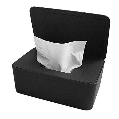litulituhallo Caja de pañuelos dispensador de toallitas secas y húmedas, contenedor de servilletas, color negro