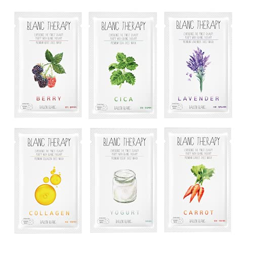 BALLONBLANC Therapy Relaxing Self Care Face Facial Mask Sheet Set Infused with Berry, Lavender, Cica, Yogurt, Collagen & Carrot 6 Skin Nutritional Face Masks for Women & Girls   Sunburn Relief   New Version  
