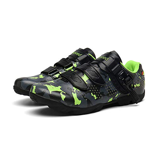 UYBAG Beginner MTB Cycling Shoes Mens Breathable Non-Slip Bicycle Shoes for Outdoor Cycling with Rubber Sole and Velcro Strap No Lock The Best Choice for Beginners,Green,43