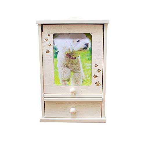 ペット仏壇 メモリアルハウス ホワイト 肉球 あしあと刻印入り かわいい スライド扉 骨壷収納