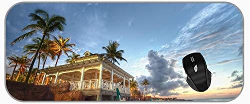 XXL große Maus Mat Beach Hotel Mauspad mit genähten Kanten
