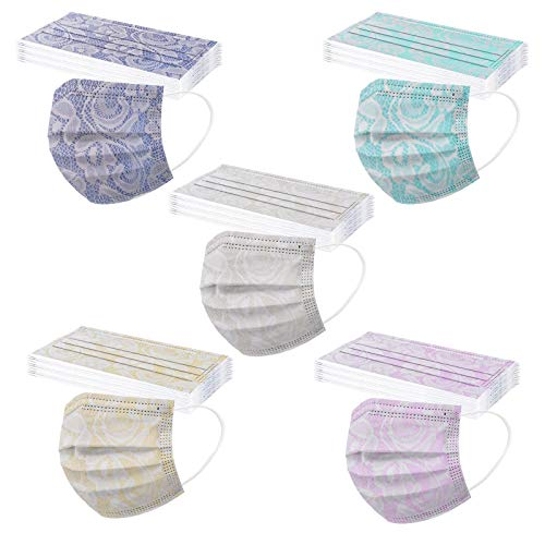 Koippimel Lace Disposable Face_Masks for Adult, Printed_Mask with Nose Bridge Strip, 3-Layers Non-Woven Effective Filter Safety Protection, 50pcs, 0223-18