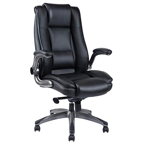 High Back Office Chair - Adjustable Flip-Up Arms Ergonomic Bonded Leather Computer Desk Executive...
