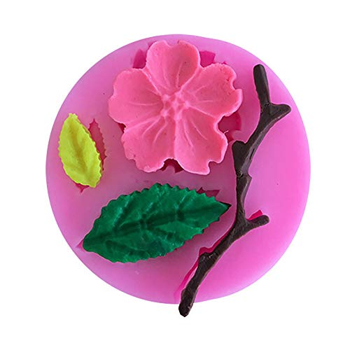 Gallity Flower Candy Mold Silicone Chocolate Mold Peach Blossom Shape Molds Flowers Leaf Fondant Silicone Mold Cake Decorating Tool Polymer Clay Mold DIY Crafting Cake Decoration