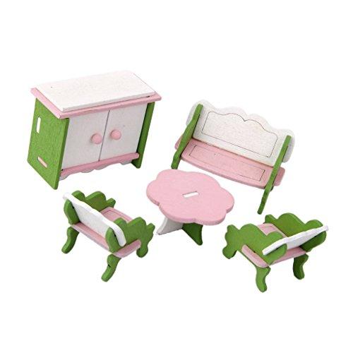 Sharplace Juego de Muebles de Sala de Estar de Madera de Casa de Muñecas en Miniatura - Sillas de Sofá de Guardarropa