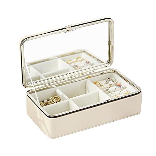 OMYLFQ Caja de joyería Blanca de Viaje con Espejo PU Caja de joyería a Prueba de Polvo a Prueba de Polvo Caja Organizador para Pulseras, Collares, Anillos, Pendientes