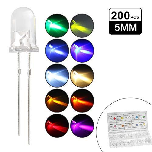 DiCUNO 200PCS 5MM LED Leuchtdiode, Rundkopf LED Dioden Set, 10 Farben(20er Jede Farbe), Rot Grün Blau Purpur Orange Gelb usw