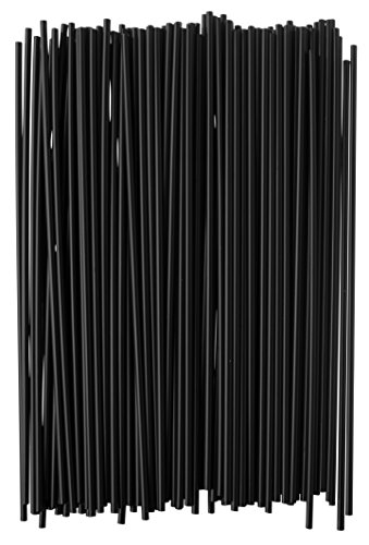 Crystalware, Plastic Stir Straw, Sip Stirrer, For Coffee and Cocktail, 7 1/2 Inches 1000/Box, Black