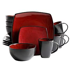 "BEAUTIFUL DESIGN: artisanal stoneware featuring two-tone red interior and black exterior double reactive glaze. WHATS IN THE BOX: Service for 4 that includes 4 of each of the following: 12. 75"" Dinner Plates, 9"" Dessert Plates, 6. 25"" Cereal Bowls an..."