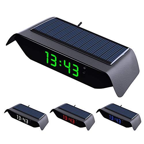 Digital Auto Thermometer Uhr, 4 In 1 Auto Solaruhr Thermometer Temperaturüberwachung Leuchtende Hochpräzise Elektronische Uhr (Grünes Licht)