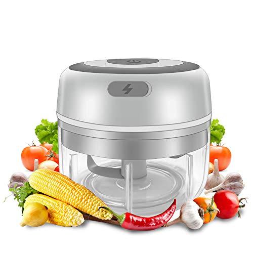 Gintan Elektrisch Knoblauchhacker,Elektrisch Zerkleinerer küche Zwiebelschneider Gemüsezerkleinerer,USB Wiederaufladbare Küchenmaschine für Babynahrung Fleisch Zwiebeln Knoblauch Obst-100ML