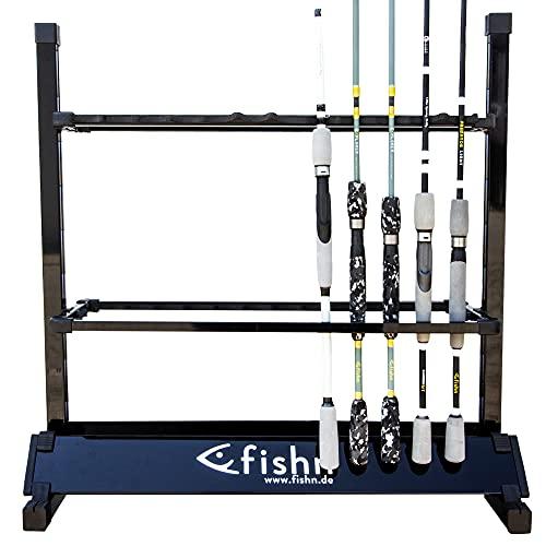 FISHN® Soporte de caña para 24 cañas de Pescar Fabricadas en Aluminio, portacañas, portacañas de Pesca - 72 x 70 x 30 cm (Negro)