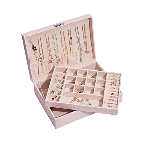 Recet Jewellery box, double layer jewellery storage box with large capacity, jewellery box with lock