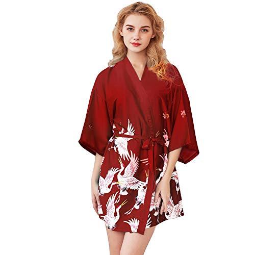Batas de Mujer de Seda Kimono Japones Ropa de Dormir Verano Pijama Boda Sexy Bata de Mujer Corto Satén Novia
