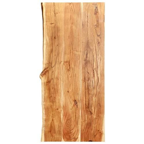 vidaXL Akazienholz Massiv Waschtischplatte Badezimmer Waschtisch Waschtischkonsole Platte Holzplatte für Aufsatzbecken Badmöbel Baumkante 120x55x3,8cm