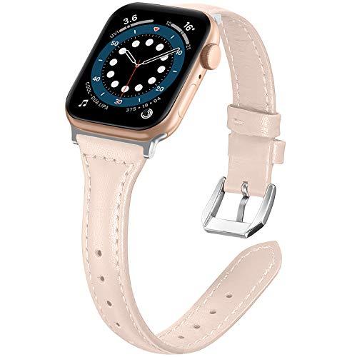 """LORDSON compatibile con Apple Watch 42 mm 44 mm Cinturini in Pelle di Ricambio, Cinturino per iWatch per Uomo Donna da 5,5 """"-8,5"""" compatibile con Apple Watch Series 6 5 4 3 2 1, Beige"""