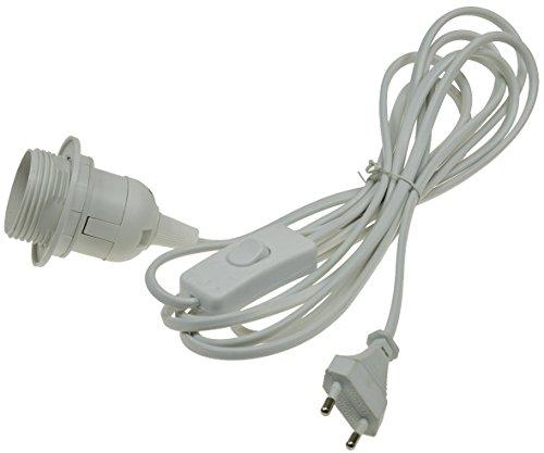 ChiliTec Netzkabel mit 3,40m Kabel und Schalter I E27 Sockel I Schnur-Schalter I Montage Ring für Lampenschirm I Weiß