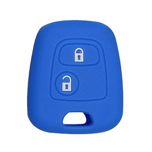 Happyit Silicone Voiture Clé Couverture de Cas Protecteur de la Peau pour Peugeot 107 207 307 407 106 206 306 406 CSL2017 Citroen C2 C3 C4 2 Bouton Télécommande Fob Clé (Bleu)