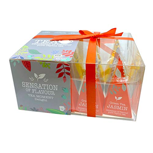 12 Pyramiden-Beutel in Geschenkbox als Teegeschenk mit Schleife, Kollektion ausgewählter Schwarztee & Grüntees, Box mit 24 g