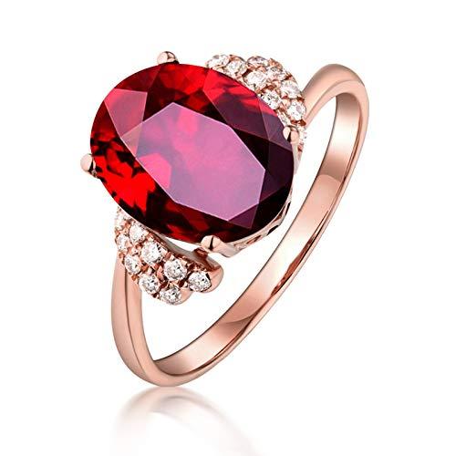 KnSam 18 K Gold Verlobungsring Damen Ring Gold 750 Damen Ovaler Rubinring Mit Weißem Diamanten Mit 0.61Ct Ruby Rot